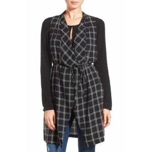 ASTR The Label Windowpane Print Long Drape Vest XS